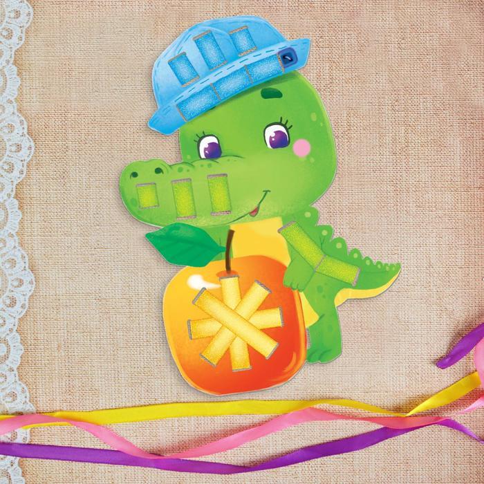 """Вышивка лентами """"Веселый крокодил"""""""" для самых маленьких"""