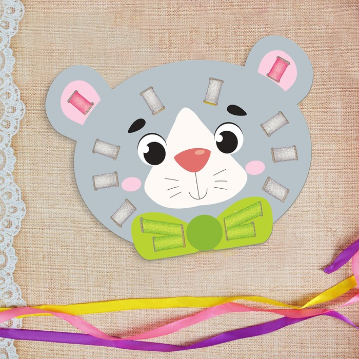 """Вышивка лентами """"Серый мишка"""" для самых маленьких"""