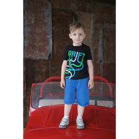 """Комплект: футболка и шорты KAFTAN """"Дрифт"""" р.28 (86-92), синий, чёрный"""