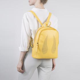 Рюкзак молодёжный, отдел на молнии, наружный карман, цвет жёлтый