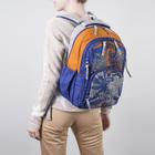 Рюкзак школьный Grizzly RD-754-1 42*29*20 мал, серый/синий/оранжевый