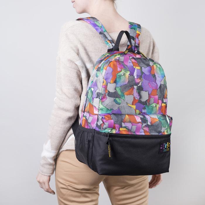 Рюкзак молодёжный, отдел на молнии, наружный карман, цвет чёрный/разноцветный