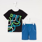 "Комплект: футболка и шорты KAFTAN ""Дрифт"" р.34 (122-128), синий, чёрный - фото 105468815"