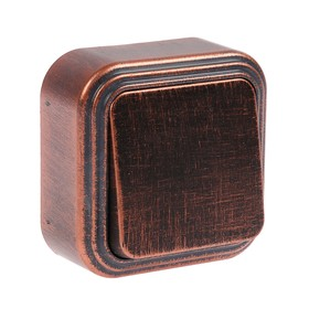 """Выключатель """"Элект"""" VA 16-131-ЧМ, 6 А, 1 клавиша, наружный, цвет черный под медь"""