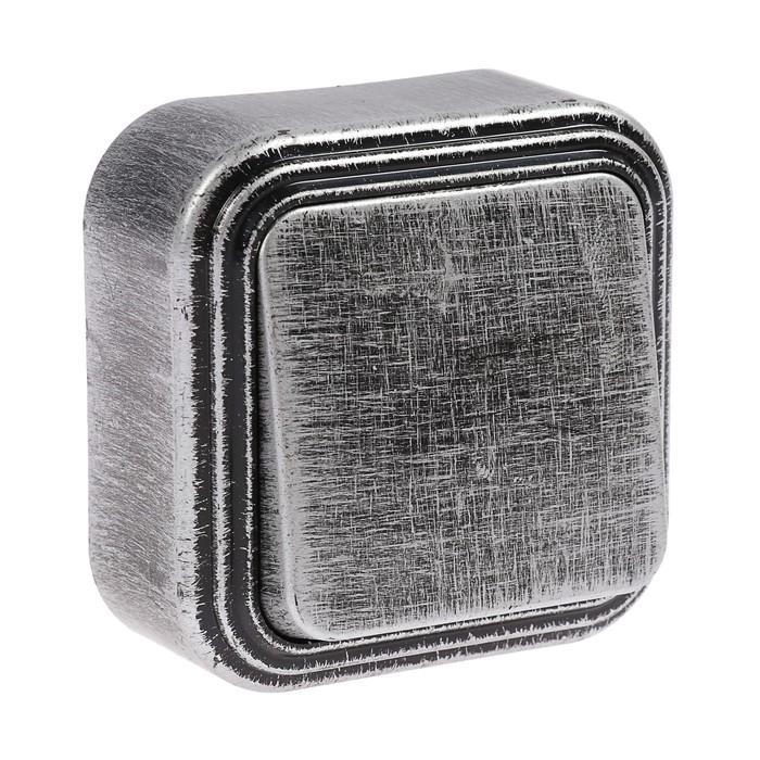 """Выключатель """"Элект"""" VA 16-131-ЧС, 1 клавиша, наружный, 6А, цвет черный под серебро"""