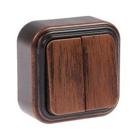"""Выключатель """"Элект"""" VA 56-232-ЧМ, 2 клавиши, наружный, 6А, цвет черный под медь"""