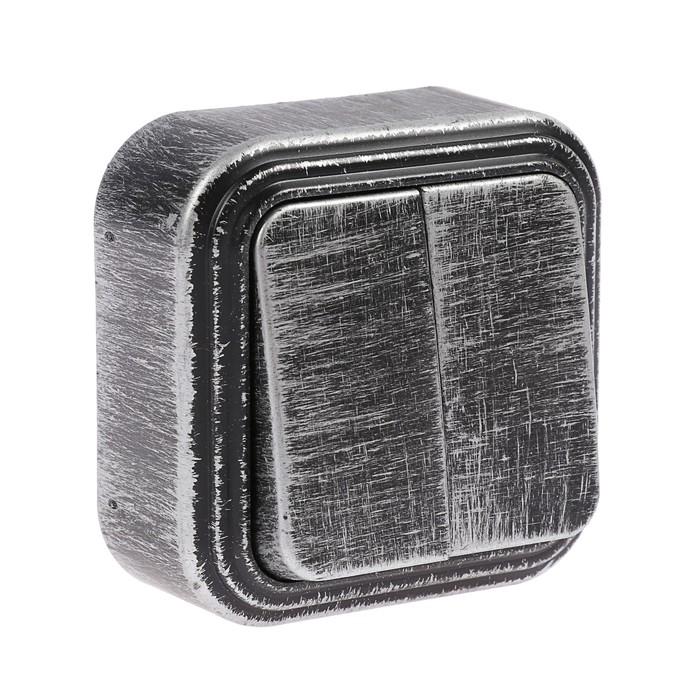 """Выключатель """"Элект"""" VA 56-232-ЧС, 6 А, 2 клавиши, наружный, цвет черный под серебро"""