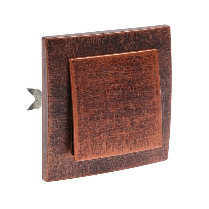 """Выключатель """"Элект"""" VS 16-131-ЧМ, 6 А, 1 клавиша, скрытый, цвет черный под медь"""