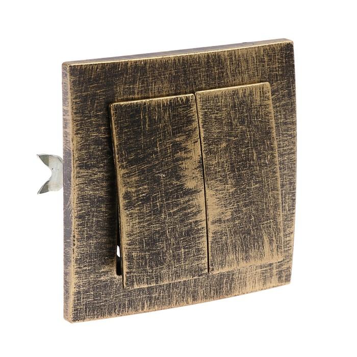 """Выключатель """"Элект"""" VS 56-232-ЧБ, 6 А, 2 клавиши, скрытый, цвет черный под бронзу"""