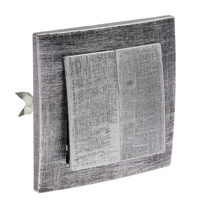 """Выключатель """"Элект"""" VS 56-232-ЧС, 6 А, 2 клавиши, скрытый, цвет черный под серебро"""