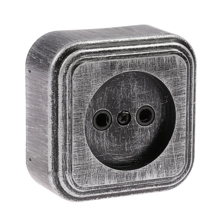 """Розетка """"Элект"""" RA 16-131-ЧС, 16 А, 250 В, одноместная, открытая, без з/к,черная под серебро"""