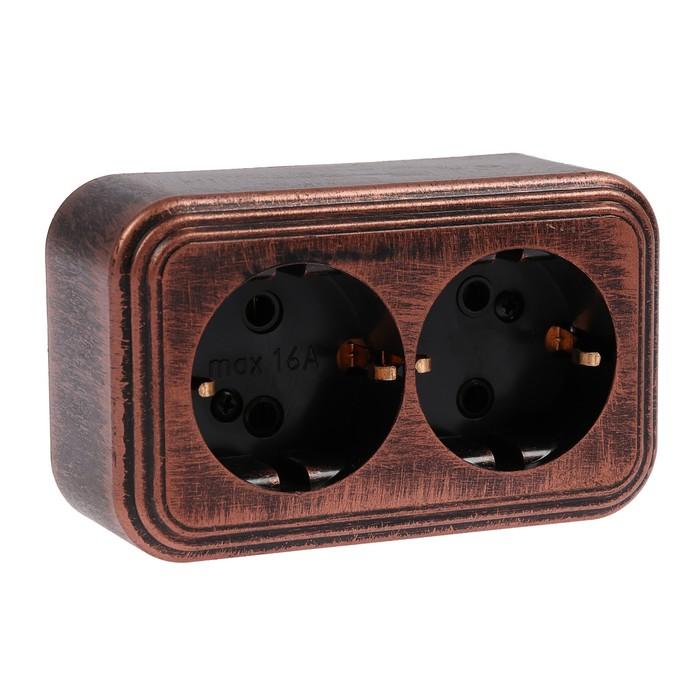 """Розетка """"Элект"""" RA 16-238-ЧМ, 16 А, 250 В, двухместная, открытая, с з/к, черная под медь"""