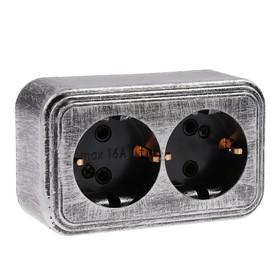 """Розетка """"Элект"""" RA 16-238-ЧС, 16 А, 250 В, двухместная, открытая, с з/к, черная под серебро"""
