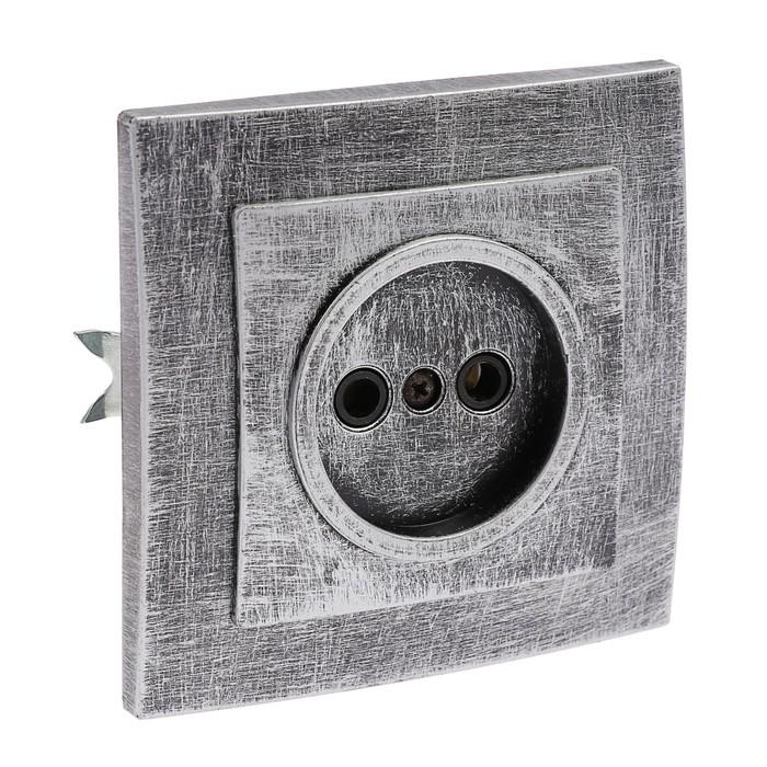 """Розетка """"Элект"""" RS 16-131-ЧС, 16 А, 250 В, одноместная, скрытая, без з/к,черная под серебро"""