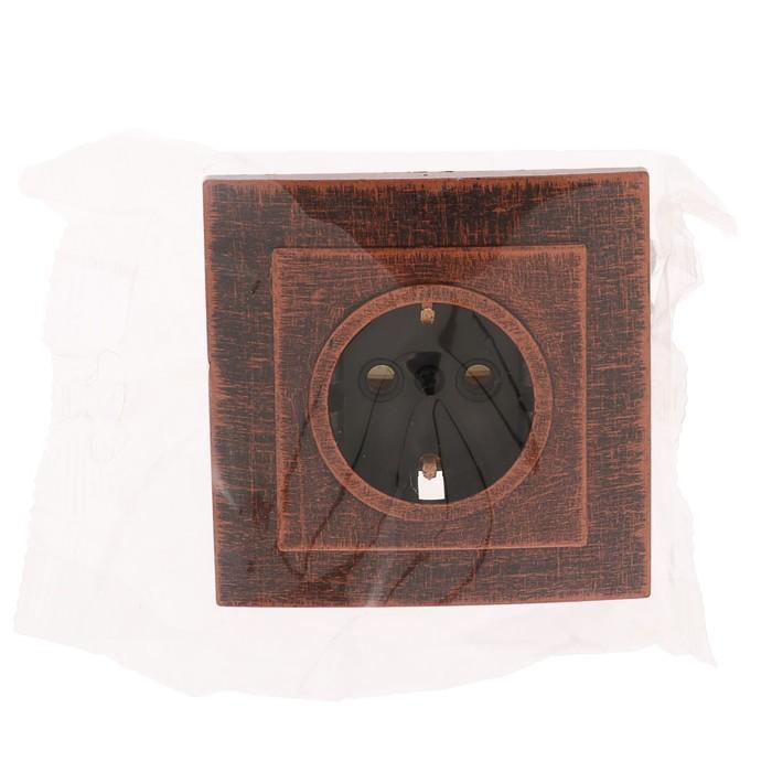 """Розетка """"Элект"""" RS 16-133-ЧМ, одноместная, скрытая, с з/к, 16 А, цвет черный под медь - фото 124083953"""
