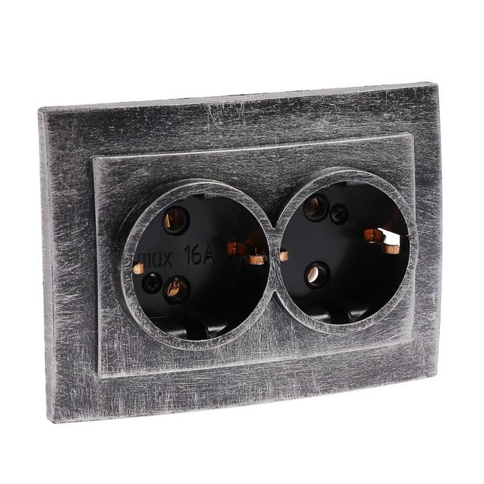 """Розетка """"Элект"""" RS 16-238-ЧС, 16 А, 250 В, двухместная, скрытая, с з/к, черная под серебро"""