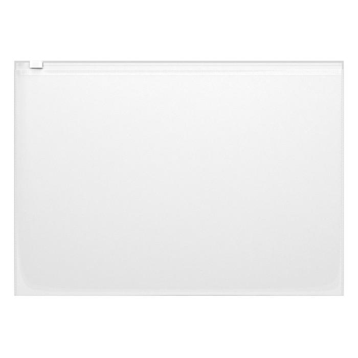 Папка-конверт с замком слайдером Zip А4, 140 мкм с тиснением прозрачная - фото 7208