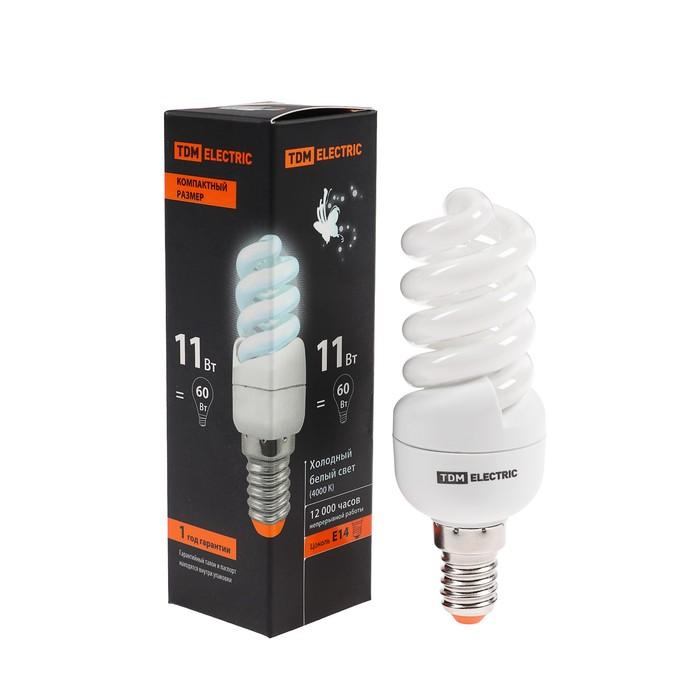 "Лампа энергосберегающая TDM КЛЛ-FSТ2 ""КОМПАКТ"", Е14, 11 Вт, 4000 К, 35 х 98 мм"