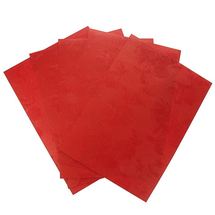 """Бумага """"Розы на золотисто-красном"""" набор 20 листов формат А-4"""
