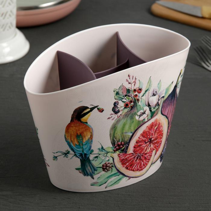 """Сушилка для столовых приборов """"Деко. Инжир"""", цвет чайная роза"""