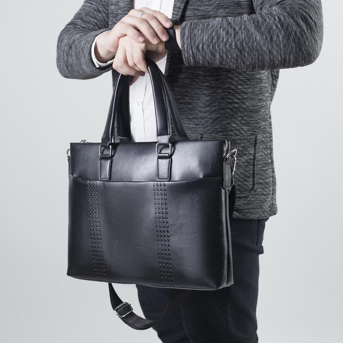 Сумка мужская, отдел на молнии, 2 наружных кармана, цвет чёрный