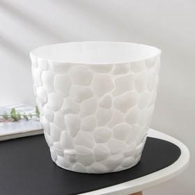 Кашпо с поддоном «Камни», 4,8 л, d=22 см, цвет белый