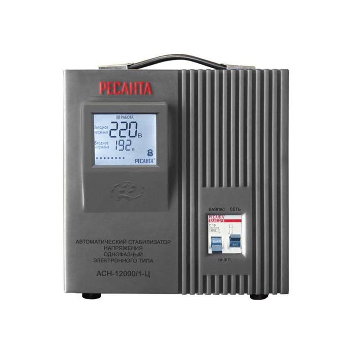 Стабилизатор напряжения Ресанта АСН-12000/1-Ц электронный, однофазный, серый