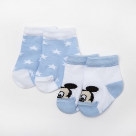 """Набор носков """"Mickey Mouse"""", белый/голубой, 8-10 см"""