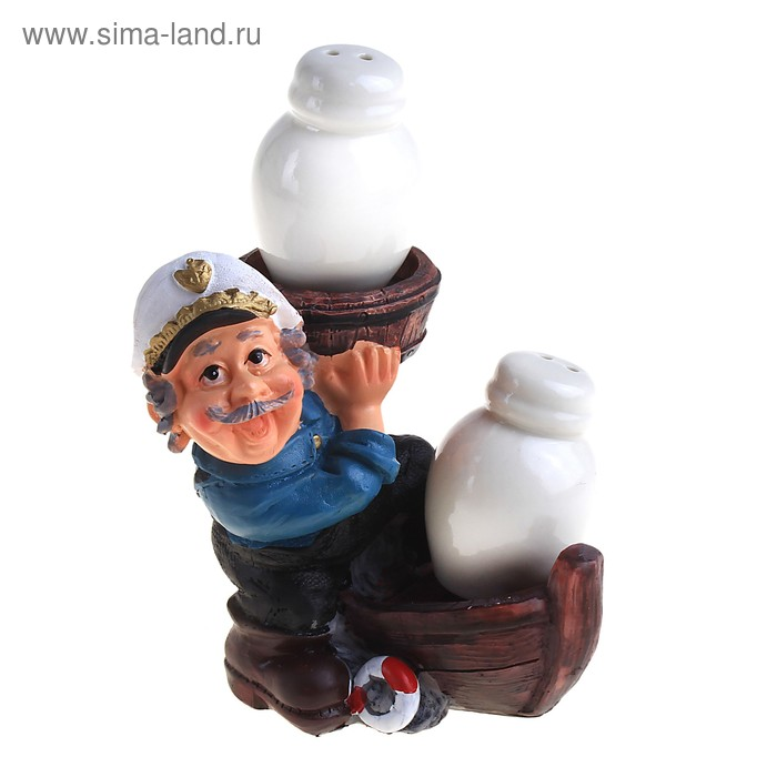 """Набор для специий """"Моряк на лодочке"""", 2 предмета на подставке"""