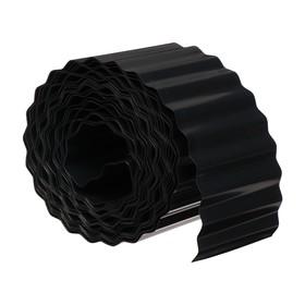 Лента бордюрная, 0.1 × 9 м, толщина 0.6 мм, пластиковая, гофра, чёрная Ош