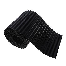 Лента бордюрная, 0.2 × 9 м, толщина 0.6 мм, пластиковая, гофра, чёрная Ош