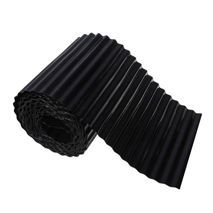 Лента бордюрная, 0.2 × 9 м, толщина 0.6 мм, пластиковая, гофра, чёрная