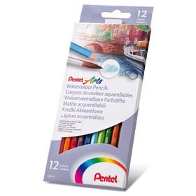 Карандаши акварельные 12 цветов Pentel, картонная коробка