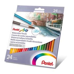 Карандаши акварельные 24 цвета Pentel, картонная коробка