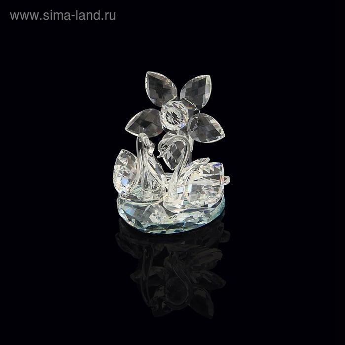 """Сувенир """"2 лебедя"""" с хрустальным цветком"""