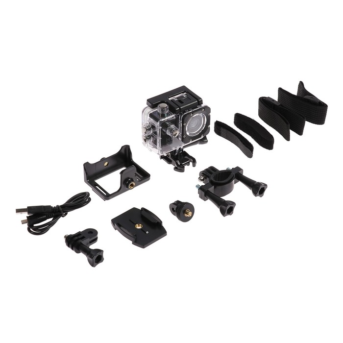 Экшн-камера Luazon RS-02, FHD, 7 предметов в комплекте, чехол для подводной съемки, черная