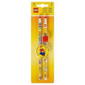 Набор карандашей чернографитных LEGO iconic (смайлик), 2 шт., с 1 насадкой в форме кирпичика