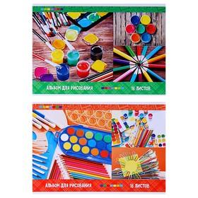Альбом для рисования А4, 16 листов на скрепке «Яркие краски», обложка мелованный картон, блок 100 г/м2, МИКС