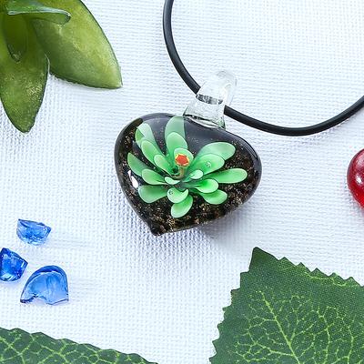 "Pendant ""Murano glass"" naturel, heart, MIX color"