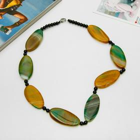 "Beads ""agate is porous"" narrow oval, color yellow, 55 cm"