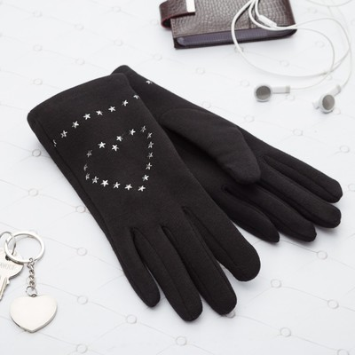 Gloves with heart women's MINAKU, size 18, colour black