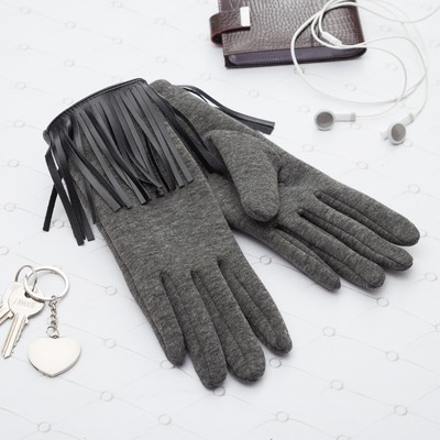 Gloves with fringe womens MINAKU, size 18, color gray