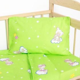 """Постельное бельё детское """"Мишки на облаках"""", цвет зеленый, 112×147, 100×150, 40×60 1 шт, бязь, хл100 120 - фото 7397665"""