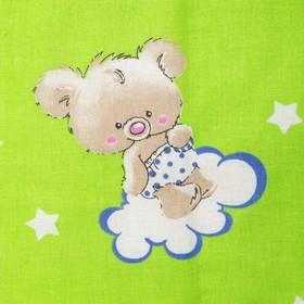 """Постельное бельё детское """"Мишки на облаках"""", цвет зеленый, 112×147, 100×150, 40×60 1 шт, бязь, хл100 120 - фото 7397666"""