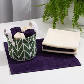 "A set of towels in a basket Ethel ""- Line"" 30*30 cm-5 PCs, dark green/light green"