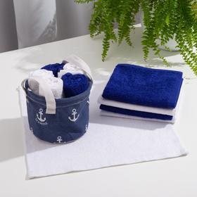 Набор полотенец в корзинке Этель «Морской», 30х30 см-5 шт