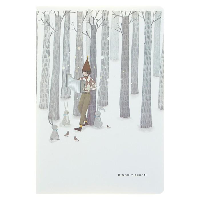 Тетрадь 40 листов клетка сшивной WINTER FOREST, обложка мелованный картон, матовая ламинация, ламинация Soft Touch, тонированный блок 70 г/м²