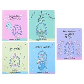 Тетрадь 48 листов клетка «Ёжик романтик», обложка мелованный картон, матовая ламинация, ламинация Soft Touch, МИКС