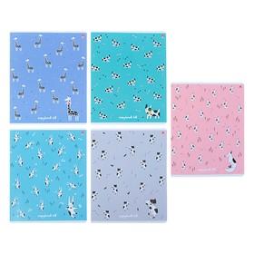 Тетрадь 48 листов в клетку «Зверушки. Паттерн», обложка мелованный картон, гибридный лак, МИКС