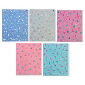 Тетрадь 48 листов в клетку «Зефирное настроение», обложка мелованный картон, ламинация Soft Touch, фольга, МИКС